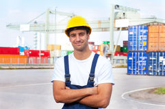 Friendly docker at work stock photography