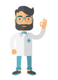 Friendly Doctor character shows sign all ok Royalty Free Stock Photos