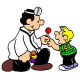 Friendly doctor examine boy cartoon Royalty Free Stock Photo