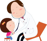 Friendly doctor examine girl. Friendly child doctor examine small girl. Doctor in white uniform. Vector illustration Royalty Free Stock Images