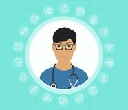 A friendly doctor in glasses and medical gown with medical icons. Vector flat design illustration vector illustration