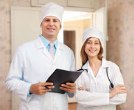 Friendly doctors in clinic interior Royalty Free Stock Photos