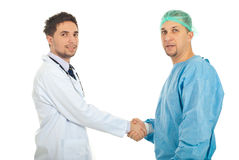 Friendly doctors handshake Stock Photography
