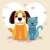 Friendly dog and cat Stock Photo