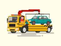 Friendly driver behind the wheel of a tow truck. Assistance on t. He road. Vector illustration of a flat design Royalty Free Stock Photo