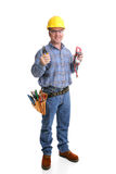 Friendly Electrician Full Body. Friendly electrician in safety gear with his wirestrippers & voltage meter.  Full body isolated on white Stock Photos