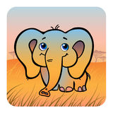 Friendly elephant in savanna. Vector Illustration of a friendly elephant in savanna Royalty Free Stock Photography