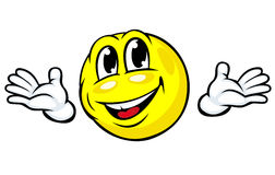 Friendly emotion face icon. With hands in cartoon style Royalty Free Stock Images