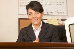 Friendly executive assistant woman business suit Stock Images