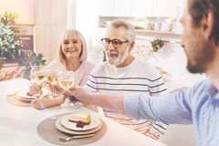 Friendly family celebrating family traditions Stock Images
