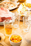 Friendly family dinner party preparation Stock Photography