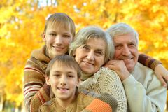 Friendly family in park Stock Photos