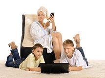 Friendly Family Resting With Laptop Stock Images