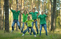 Friendly family running Stock Photography