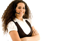 Friendly female customer service operator Stock Images