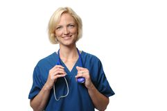 Friendly female doctor Stock Images