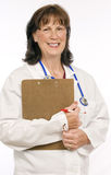 Friendly Female Doctor Isolated On White Stock Photo