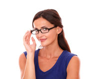 Friendly female with glasses looking at you Stock Photos