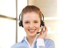 Friendly female helpline operator Royalty Free Stock Images