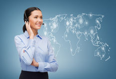 Friendly female helpline operator Royalty Free Stock Photos