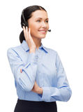 Friendly female helpline operator Stock Photo