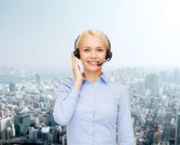 Friendly female helpline operator Royalty Free Stock Photos