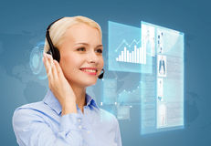 Friendly female helpline operator Stock Photos
