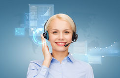 Friendly female helpline operator royalty free illustration