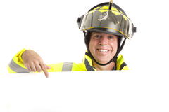 Friendly Fireman with Message Stock Image