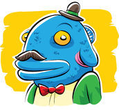 Friendly Fish Head Man. A friendly cartoon man with a fish head Royalty Free Stock Image