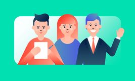 Friendly flat team of professional financial advisors. Colorful vector illustration on light green gradient background for web and printing royalty free illustration