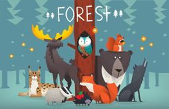 Friendly forest animals vector illustration. Portrait of friendly typical wild forest animals taking picture in the woods on sunset with trees on the background Royalty Free Stock Photos