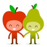 Friendly Fruit Couple Apple and Pear Royalty Free Stock Image