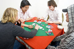 A friendly game of backroom poker Royalty Free Stock Photos