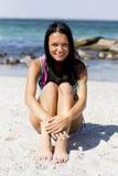 Friendly girl. Smile on the seashore Stock Photos