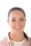 Friendly girl. Happy young woman with a bright friendly smile Stock Images
