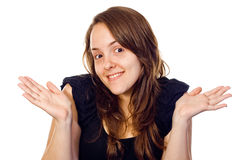 Friendly girl shrugging Stock Photography
