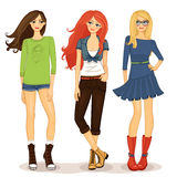 Friendly girls. Set of friendly girls vector illustration isolated Royalty Free Stock Images