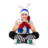 Friendly gnome with red hearts Stock Images