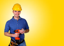 Friendly handy man portrait background. Standing young worker with space for text Stock Image