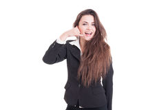 Friendly and happy business contact female or woman Stock Image