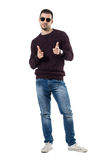 Friendly happy casual man choosing you pointing finger at camera Royalty Free Stock Image