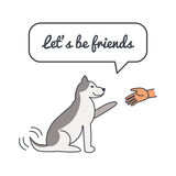 Friendly Happy dog with speech bubble and saying Royalty Free Stock Images
