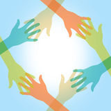 Friendly, helping hands Illustration Stock Photo