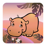 Friendly hippo in savanna. Vector illustration of a friendly hippo in savanna Royalty Free Stock Photos