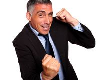 Friendly hispanic businessman boxing Stock Photo