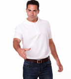 Friendly hispanic man with greeting gesture Stock Photos