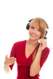 Friendly hot line operator in headphones Royalty Free Stock Photo