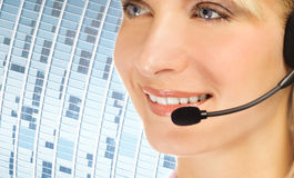 Friendly hotline operator Stock Images