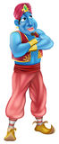 Friendly Jinn or genie standing. Illustration of a friendly looking blue cartoon genie standing with his arms folded royalty free illustration
